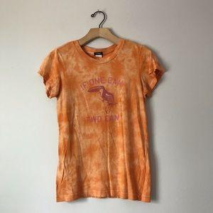 J. Crew tie die bird abstract orange print t-shirt